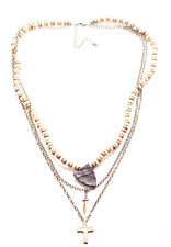 Brown & White Beads/Sword,Cross & Leather Armour Layered Necklace(Zx304)