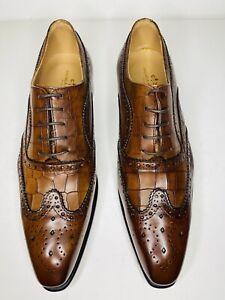 Italian Leather Men Dress Shoe Brown Color Size 45