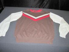 Nick Danger Chevron Brown Blue Red Sweater Jacket Sz Large ~ 5732