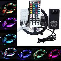 16Ft 5M 3528 RGB 300LED SMD Flexible Light Strip +24/44 Key IR +12V Power Supply