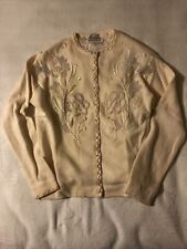 Cream Floral Beads 50's 60's Lambswool Angora Rabbit Cardigan Lined Sweater