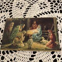 Vintage Greeting Card Christmas Manger Animals Wisemen