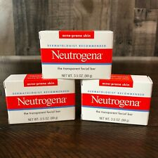 Neutrogena Transparent Facial Bar Soap - Acne Prone Skin 3.5oz **Lot of 3 NEW**