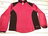L.L Bean Women's Pink/Blk 1/4 Zip Up Sweater Fleece Pullover Jacket Size: Small