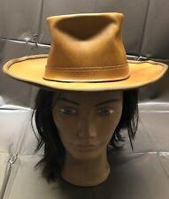 Vintage Skullys by Henschel Western Hat Brown Rugged Leather Suede High Crown