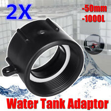 2Pcs 50mm 1000L IBC PVP Water Tank DN50 Heavy Duty BSP Adaptor Barrel Valve
