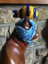 Hand Knitted Blue/yellow Tropical Fish Hat  For Your Cat/small Dog ,New