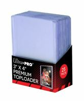 (25) Ultra-Pro Premium Topload Trading Card Holders Heavy Gauge Clear Toploaders