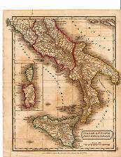 """ANTIQUE SIDNEY HALL COPPERPLATE MAP -""""ITALIAE ANTIQUAE PARS MERIDIONALIS"""" (1821)"""
