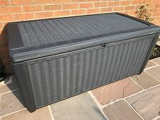 More details for keter sumatra waterproof rattan style plastic garden storage deck box xl 511ltr
