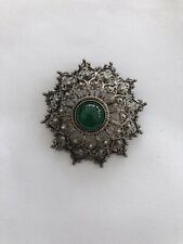 Portugal With Green Stone Vintage Old Brooch 925 Silver Topazio