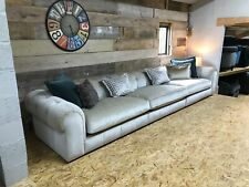 HUGE Alexander James maxi XL Cecile 4-6 str velvet chenille sofa cream beige