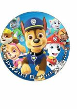 7.5 inch Personalised Edible Icing Cake Topper Happy Birthday Paw Patrol