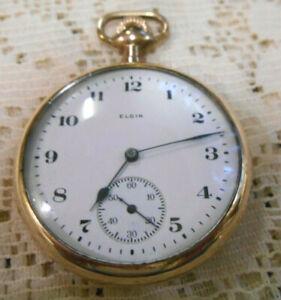 #9 Vintage Elgin Pocket Watch Gold Filled Open Face 16S 7 Jewels 25 year case