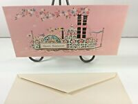 "Vintage Mid Century 1950's Greeting Card Pink ""Birthday"" w Envelope"