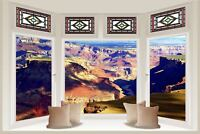 Huge 3D Bay Window Grand Canyon View Wall Stickers Mural Wallpaper S43