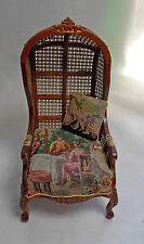 Dollhouse Miniature Toile à Capuche Canopy chair in antique petit point