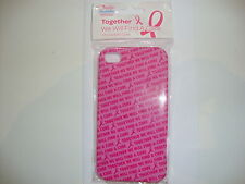 "IPHONE 4/4S ''TOGETHER WE WILL FIND A CURE"" PINK/HOT PINK SLIM CASE"