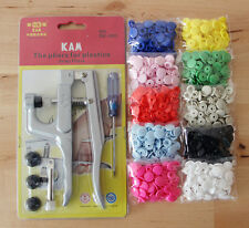 KAM Snap Pliers Kits with 200 Sets KAM Size 20/T5 Plastic Snaps Fastener Buttons