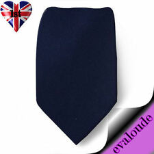 Skinny Midnight Dark Blue Mens Slim Plain High Quality Satin Neck Tie Necktie UK