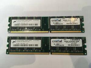 2x CRUCIAL PC3200 400MHZ 512MB DDR DIMM 184PIN RAM CT6464Z40B.8TD2 (1GB Total)