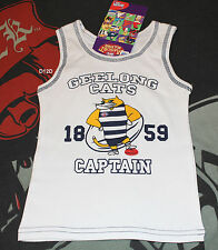 Geelong Cats AFL Mascot Boys White Printed Cotton Singlet Size 5 New