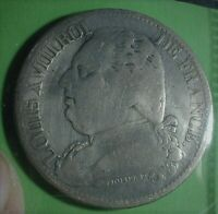 1815 Q France Crown Silze Silver 5 Francs Coin, Cleaned  Lot #201