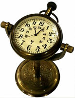 Tabletop nautical desk clock brass antique vintage best collectible gift item