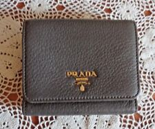 Authentic Prada Tri-Fold Marmo Mare - Gray Pebble Leather Wallet Made in Italy