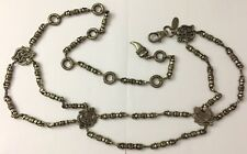 The Limited Silver Tone Boho Tetxtured Gothic Beaded Antiqued Style Chain Belt