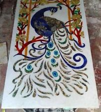 """18""""x36"""" Peacock Design Marble Inlay Dining Table Top Room And Hallway Decor"""