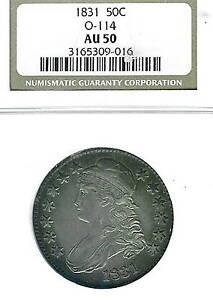 1831 Capped Bust Half Dollar : NGC AU50  Overton 114