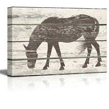 Grazing Horse Silhouette Artwork - Rustic Canvas Wall Art Home Decor - 16x24