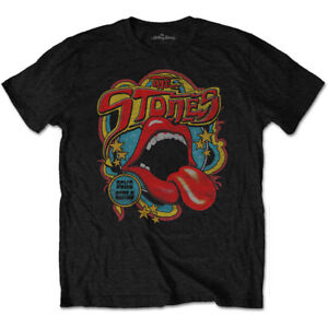 The Rolling Stones Tongue and Lips Retro 70s Vibe Official Black Mens T-shirt