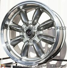 15X7 ROTA RB RIMS 4X100 WHEELS +20MM OFFSET 57.1MM STEEL GRAY COLOR (SET OF 4)