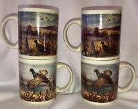 Heavy Vintage Gibson Housewares Cups Mugs Pheasant - Excellent Set Of 4