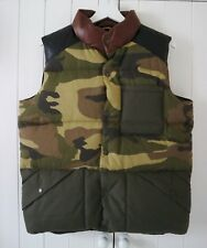 Black Bear by Penfield Camouflage Camo 'Outback' Down Feather Leather Gilet M