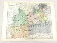 1889 Antique Map of Surrey Guildford Epsom Wimbledon Chertsy 19th Century