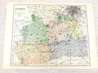 1889 Mappa Antica Di Surrey Guildford Epsom Wimbledon Chertsy 19th Secolo