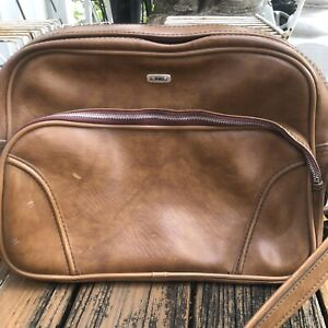Airway Travel Bag Luggage Carry On Case Suitcase Vtg 60s 70s Shoulder Strap