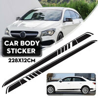 228x25cm Car Racing Side Door Stripe Decal Graphic Sticker Car Accessories Black