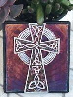 Celtic Cross Raku Wall Art - handcrafted & signed - NEW