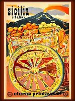 Sicilia europe Italy Vintage Illustrated Travel Poster Print   Framed Canvas