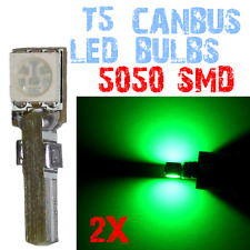 2Lampadine T5 LED CANBUS 5050 Dashboard Interior Light Car Interior GREEN 4C1 4C