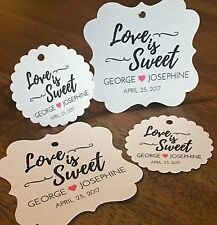 Wedding Favor Tags, Love Is Sweet. Heart Favor Tags Thank You Wedding Tags.