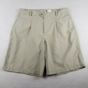"""Columbia Brown Beige Hiking Travel Shorts Size L 9"""" Ins Pleated  GRT Womens"""