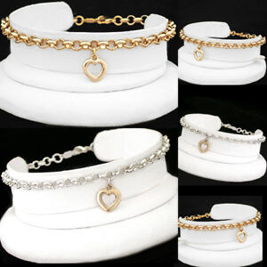 ALL SIZES | BELCHER Link OPEN HEART CHARM 14K GOLD EP 2-TONE SILVER EP Anklet