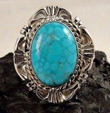 Navajo Handmade Kingman Turquoise Ring Set In Sterling Silver - Robert Shakey