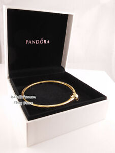 "SHINEª SMOOTH BRACELET Authentic PANDORA GOLD Plated Bracelet 7.5""19cm 567107"