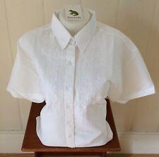 Ladies Grenouille Seersucker Cotton Short Sleeve Shirt, Medium, White/flowers